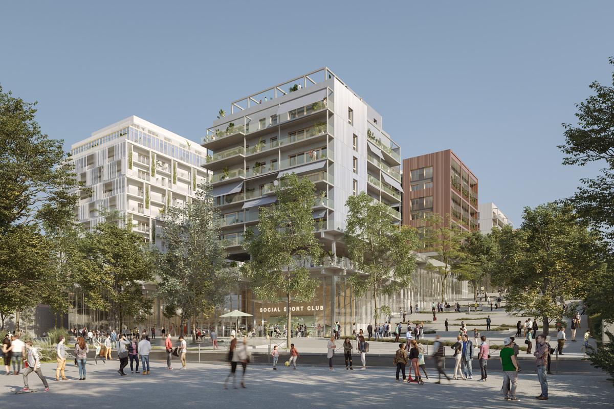 Les Quinconces - Vue de la façade Seine avec le Social Sport Club (Architectes UAPS, Brenac & Gonzalez & Associés)