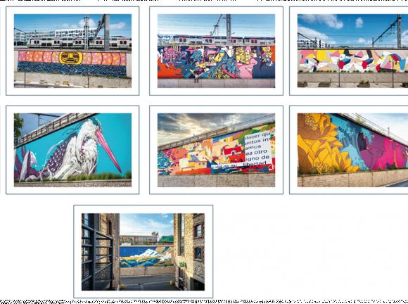 9 artistes réalisent sur le Parc Icade du Pont de Flandre une grande fresque de street-art à ciel ouvert