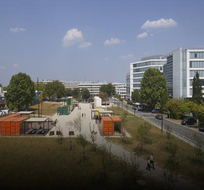 Vue aérienne de la Place des découvertes, Parc Icade Paris Orly-Rungis